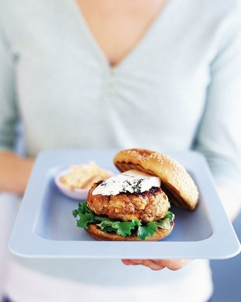 Pork and apple burgers with blue cheese