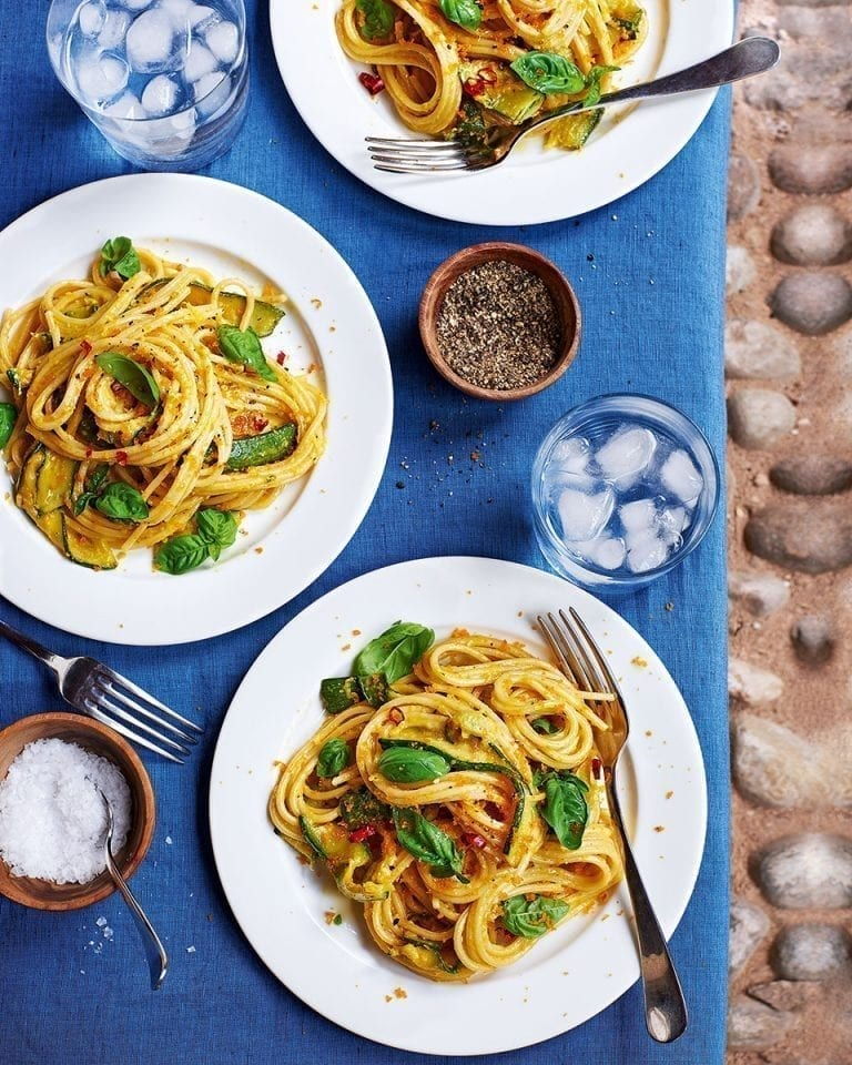 Pasta with courgettes, bottarga and lemon zest