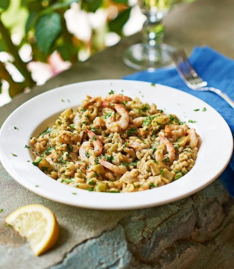 Fennel and prawn risotto