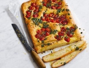 Tomato and basil pesto focaccia