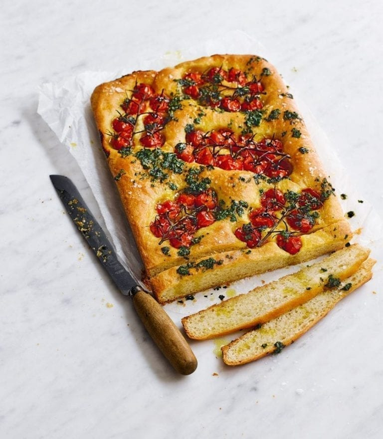 Tomato and basil pesto focaccia