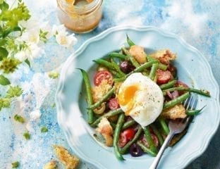 Green beans and tomatoes with caper dressing