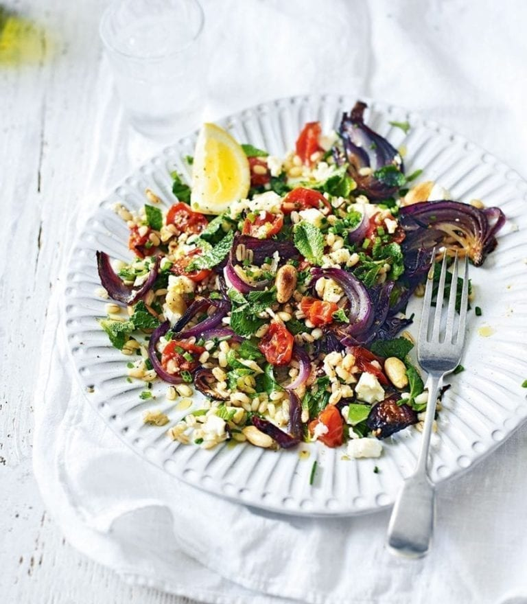 Roasted tomato salad with feta, pearl barley and herbs