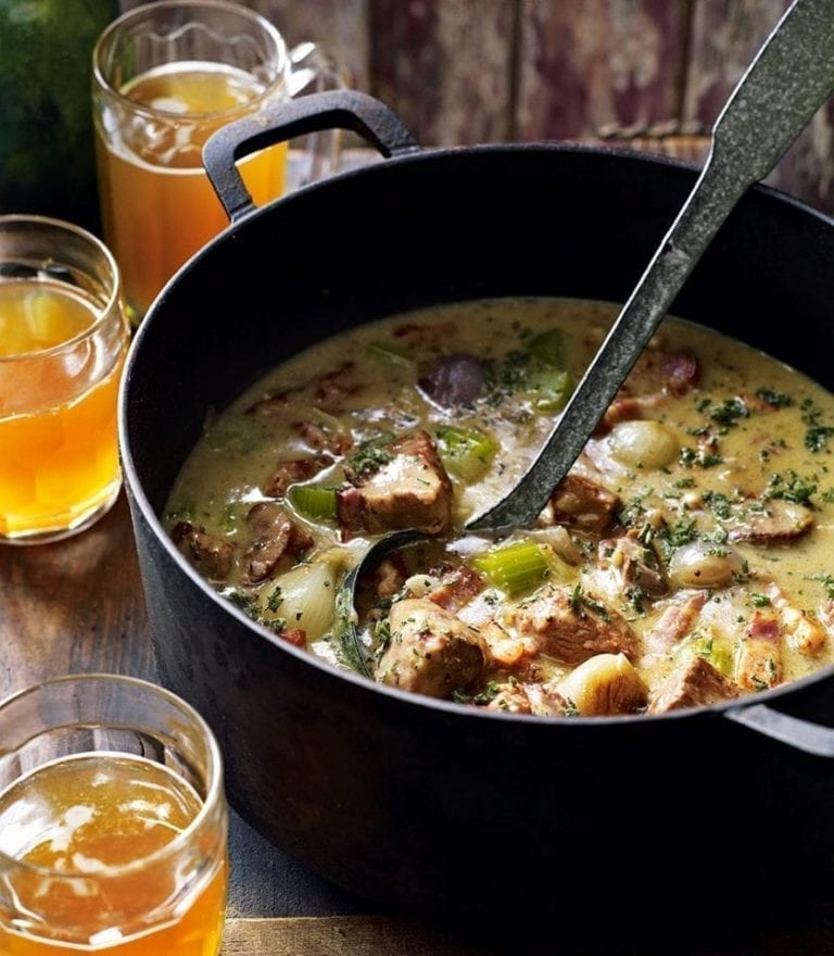 Dorset pork and cider casserole with mustard and sage