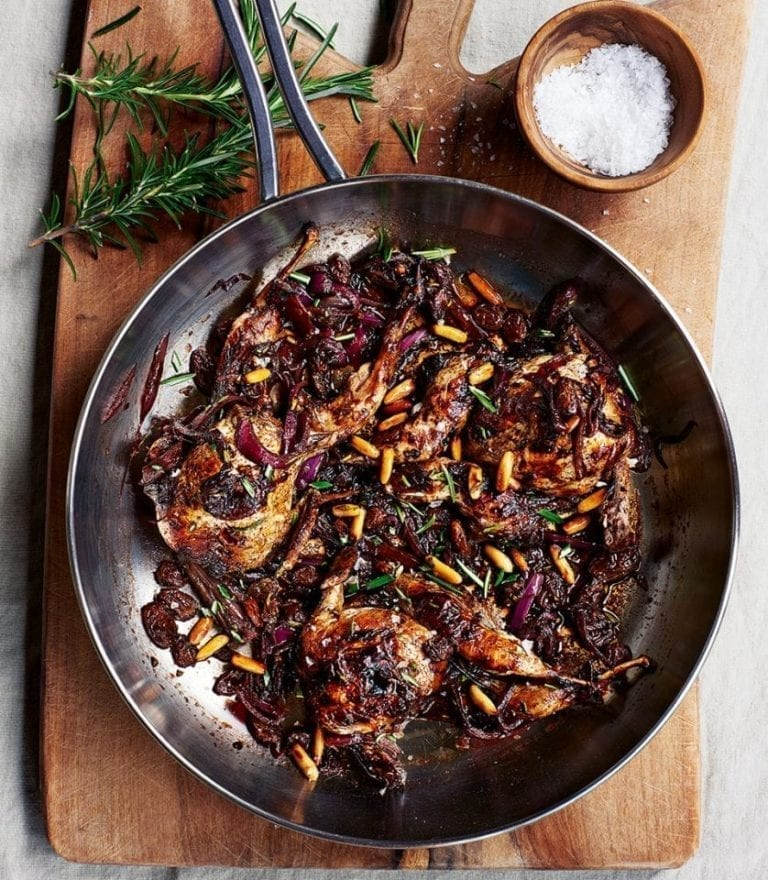 Marinated quail with raisins and pine nuts