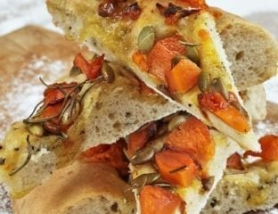 Iron bark pumpkin, rosemary and pumpkin seed focaccia