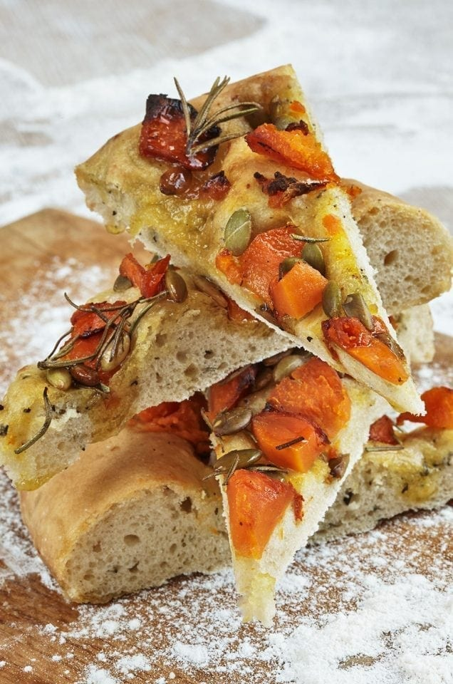 Iron bark pumpkin, rosemary and pumpkin seed focaccia
