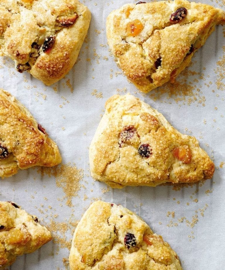 Apricot, cranberry and almond whipped cream scones