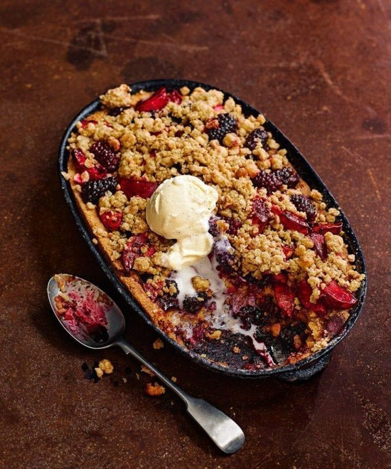 Apple and blackberry frangipane crumble