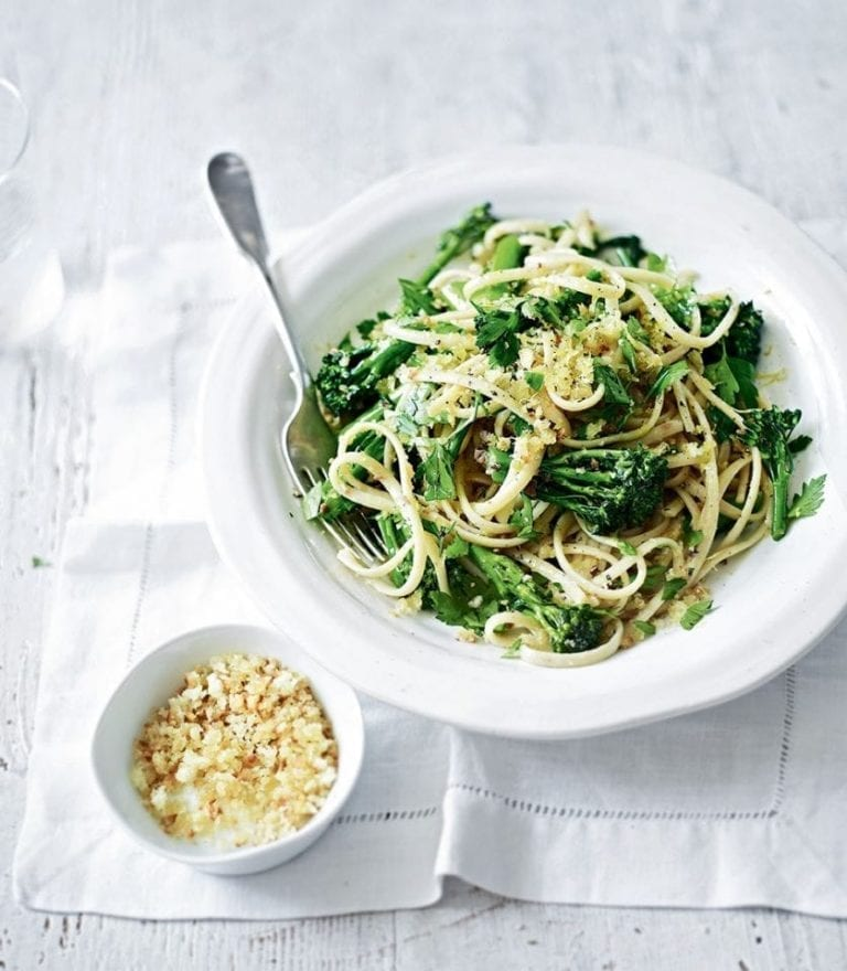 Broccoli and anchovy pasta with lemon breadcrumbs