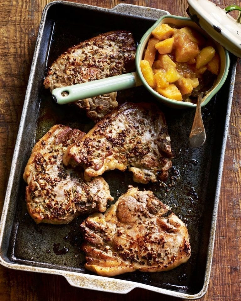 Fennel seed crusted pork chops with quince and apple compôte