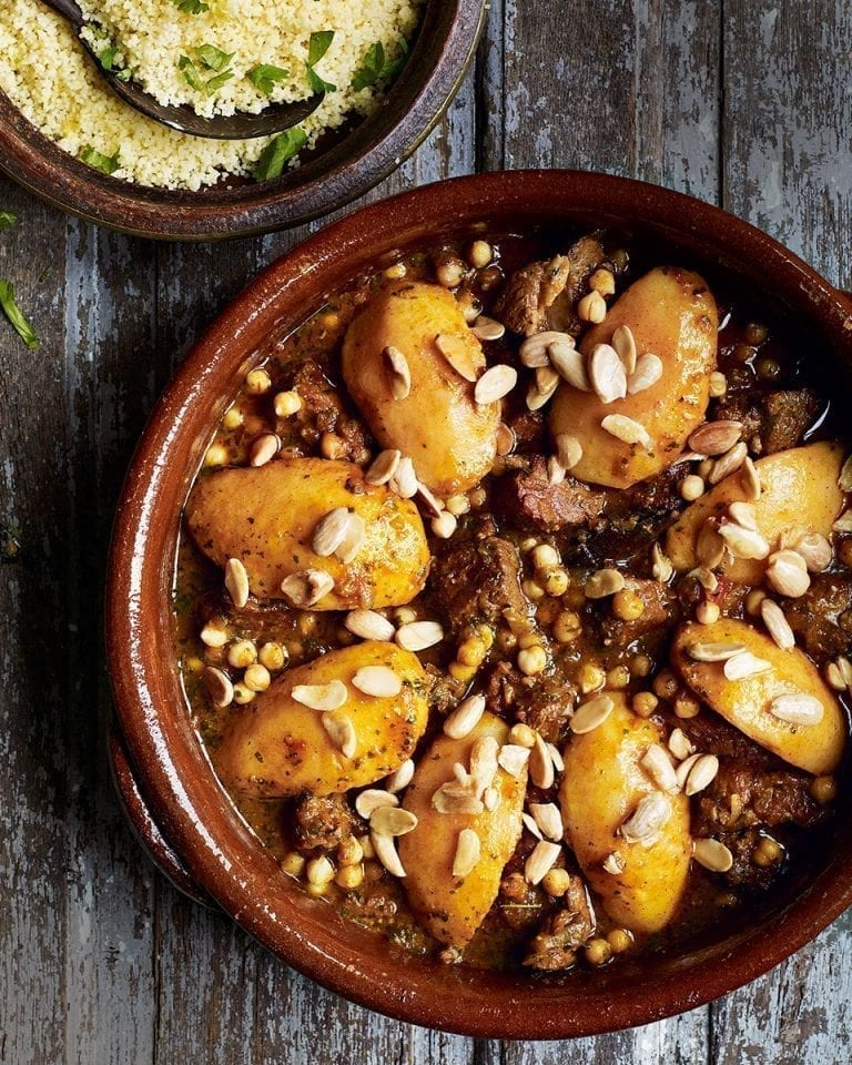Lamb and quince tagine with chermoula and buttered couscous