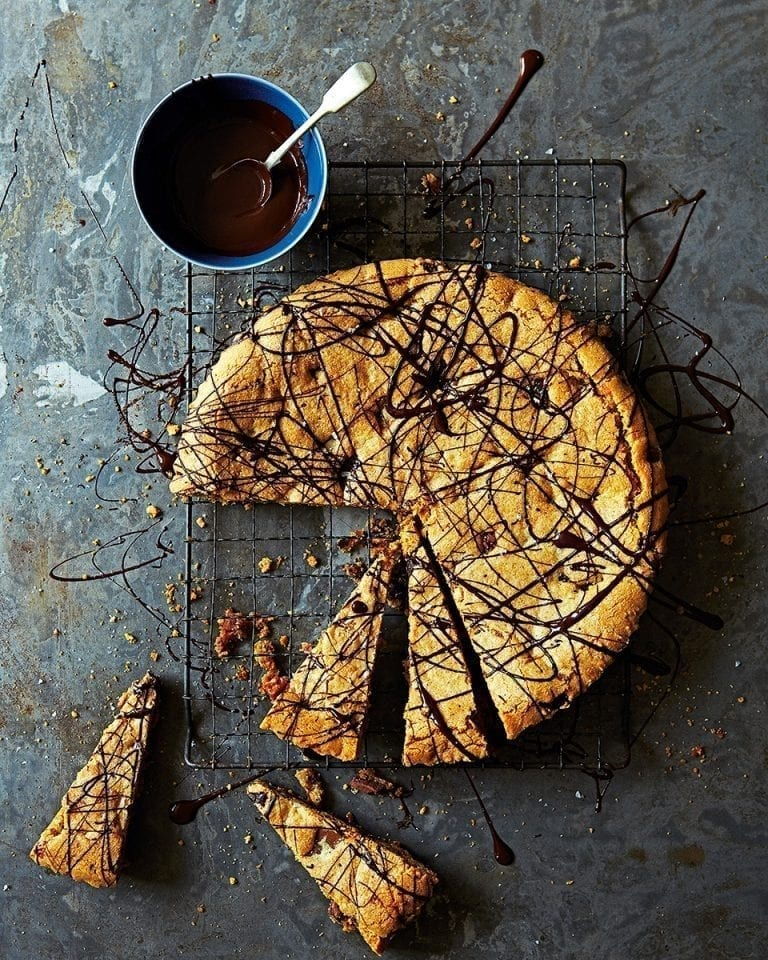 Giant chocolate and toffee cookie