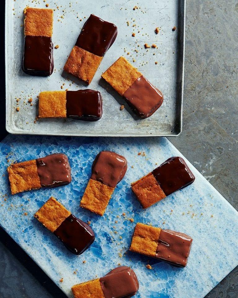 Half-dipped gingernut bars