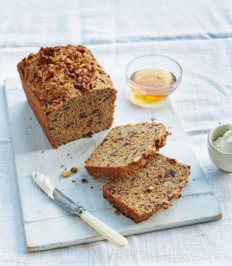Apple, cranberry and walnut gluten-free loaf