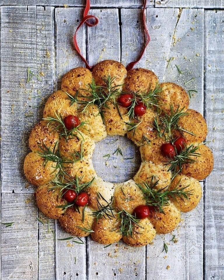 Cheese bread sharing wreath