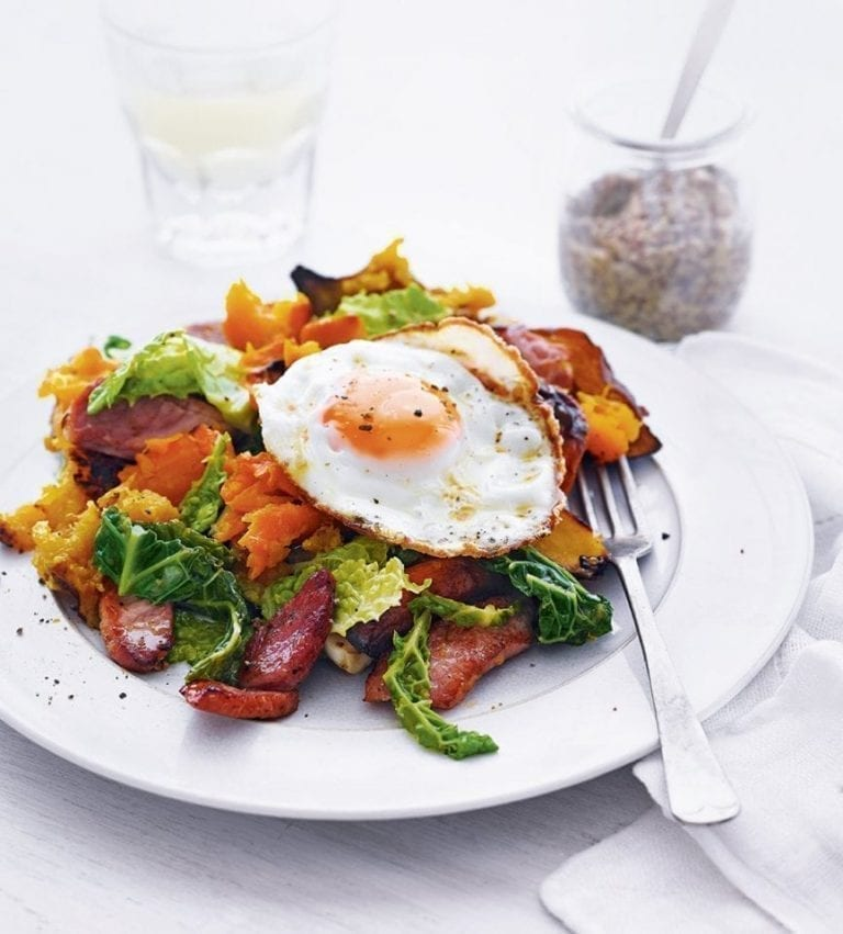 Bubble and squeak with gammon and fried eggs