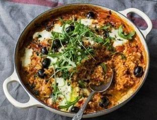 Tomato, olive and mozzarella rice