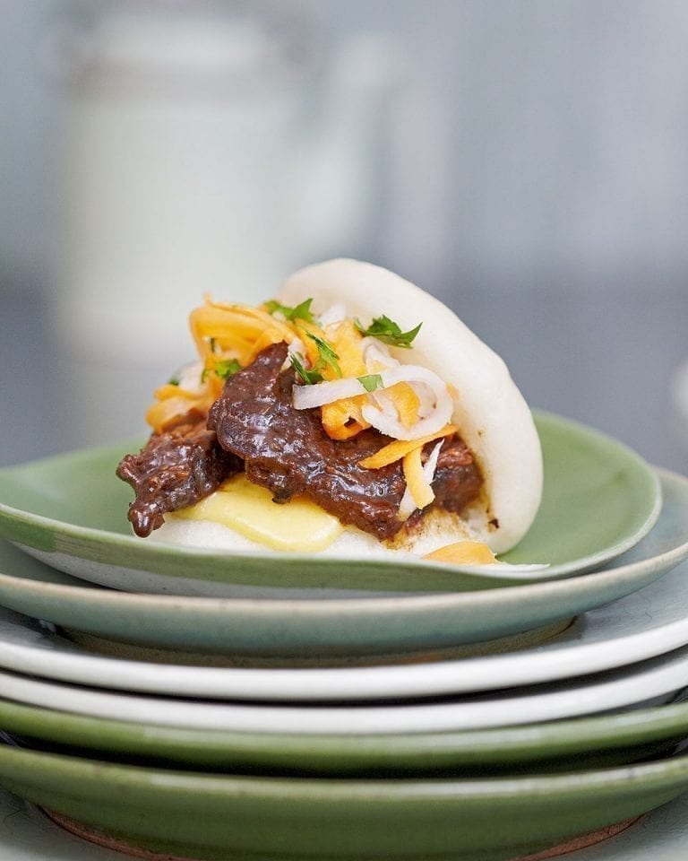 Bao buns with braised shortrib and pickled daikon