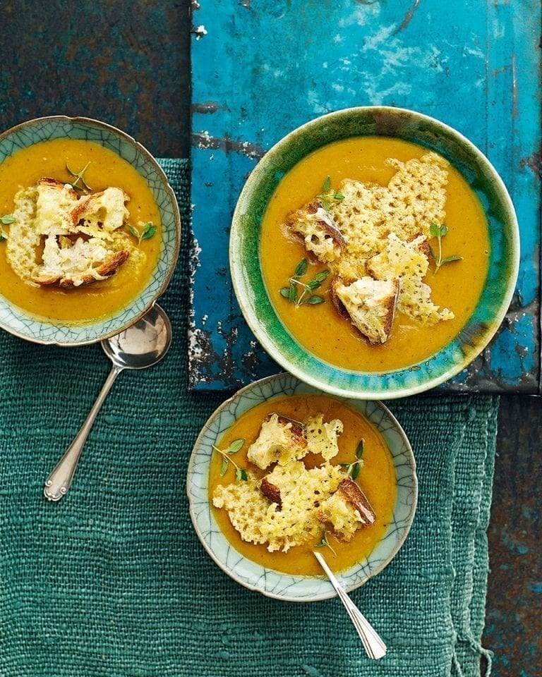 Squash and apple soup with cheddar croutons
