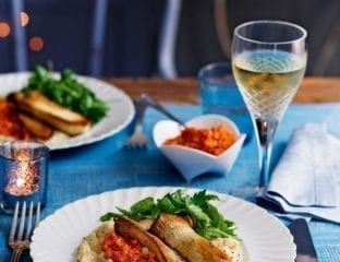 Roasted mushrooms with romesco and butter bean purée