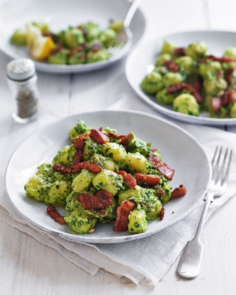Gnocchi with lemon, kale and mascarpone pesto
