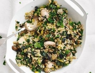 Chicken, mushroom and barley stew