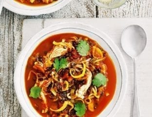 Chunky lentil, chicken and tomato broth