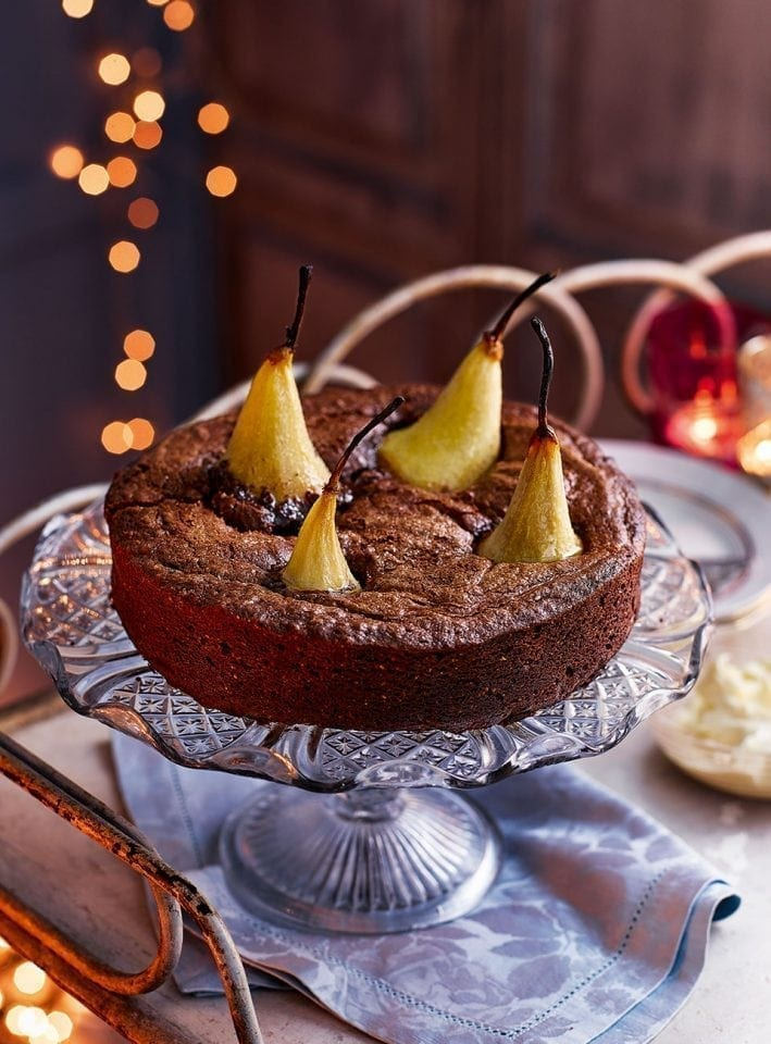 Chocolate and pear brownie torte