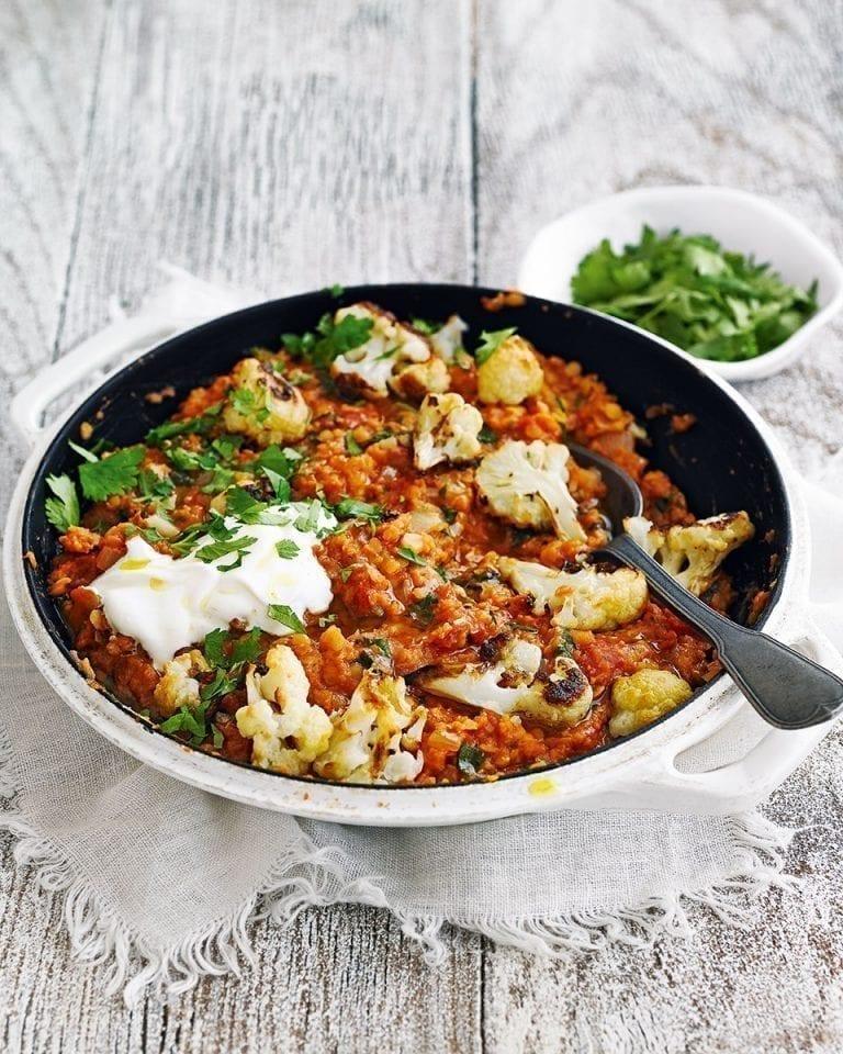 Roasted cauliflower dhal