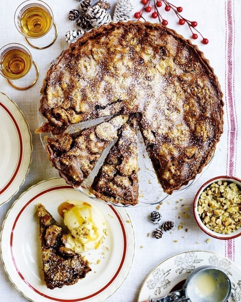 Whisky, walnut and brown butter tart with atholl brose ice cream