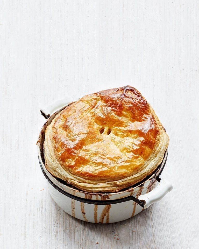 Beef cheek and ale pie with chocolate