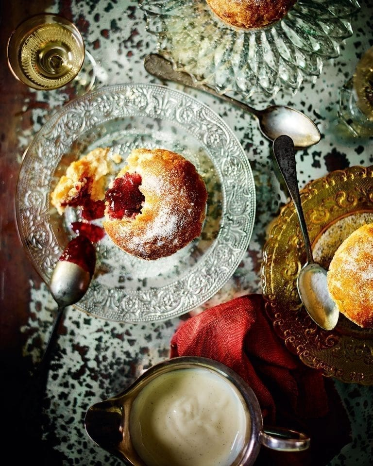 Damson roly-poly doughnut puddings with boozy custard