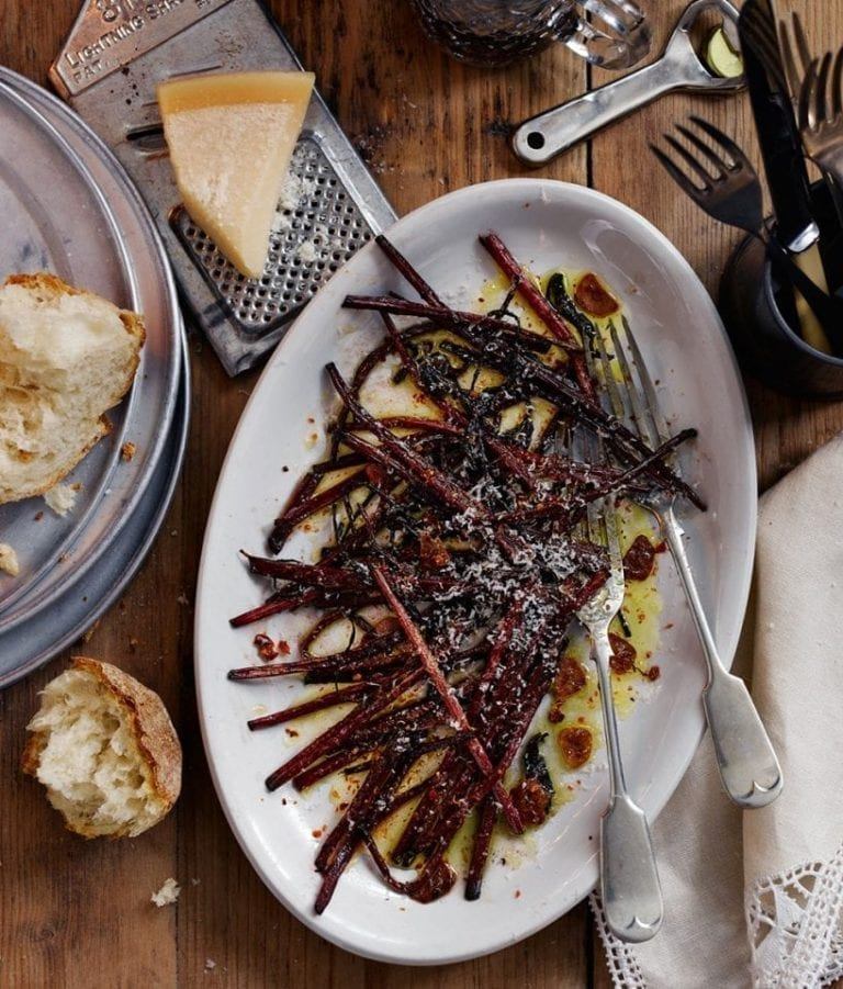 Charred beetroot stalks with lemon and parmesan