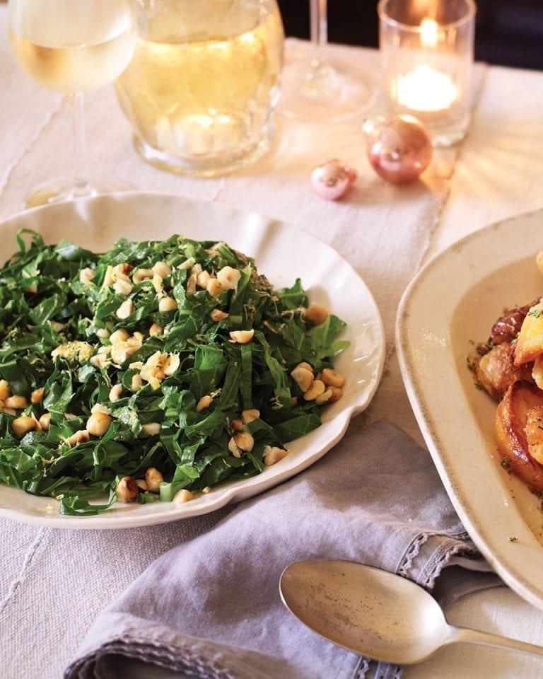 Seasonal greens with hazelnuts and lemon