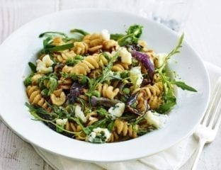 Roasted red onion, walnut and blue cheese pasta