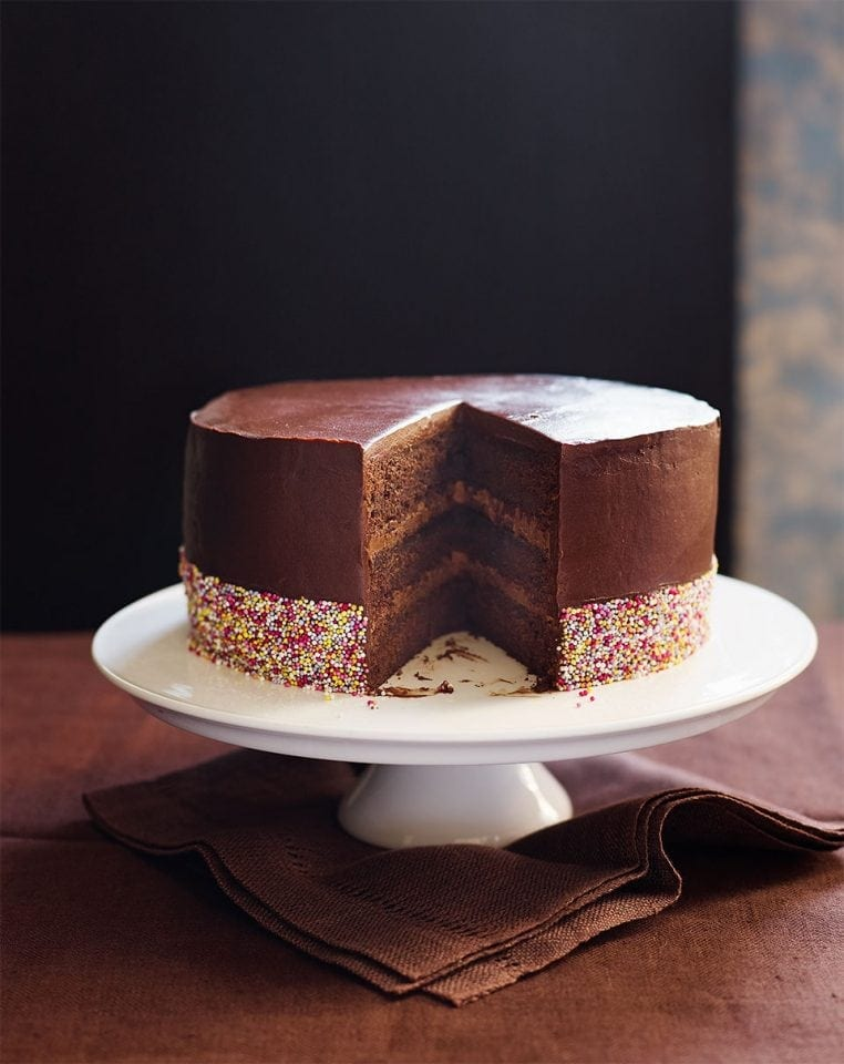 Triple-chocolate layer cake