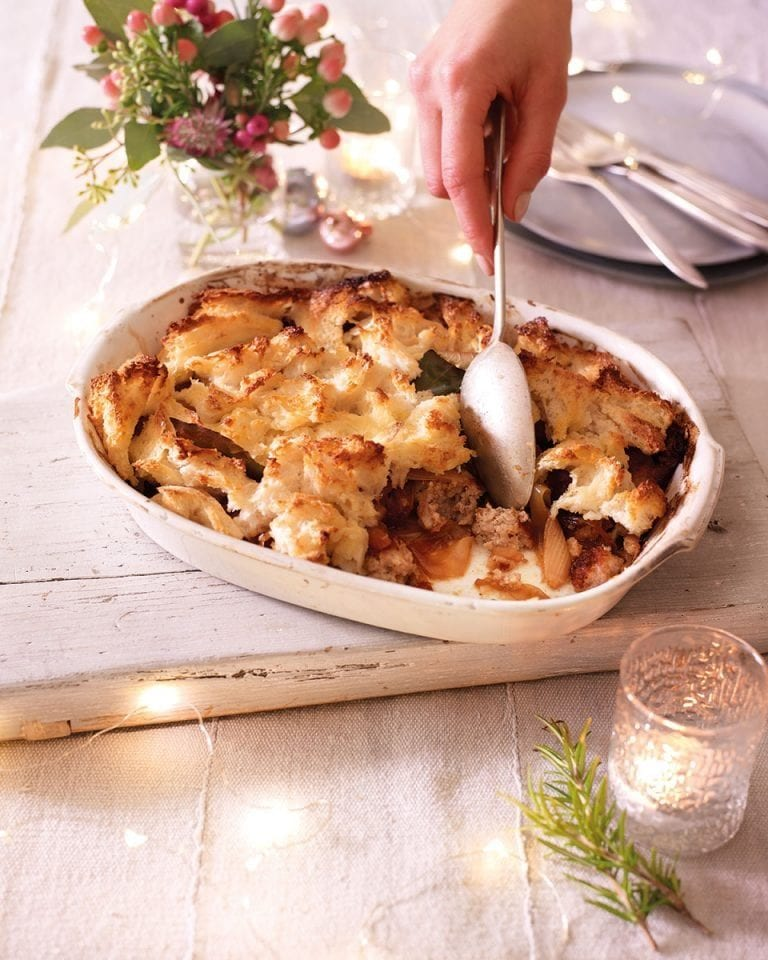 Baked pork, almond and marsala stuffing with bread sauce topping