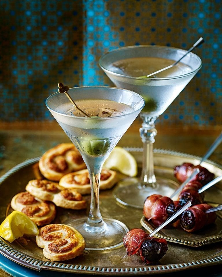 Olive-garnished martini