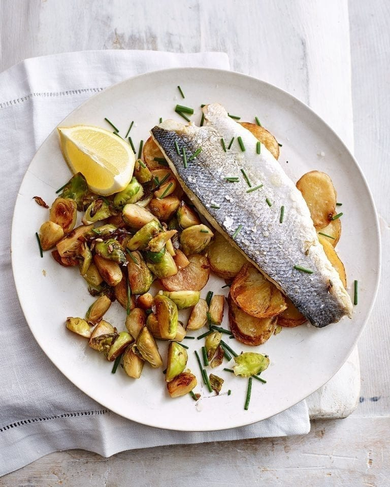 Easy baked fish and chips with fried brussels sprouts
