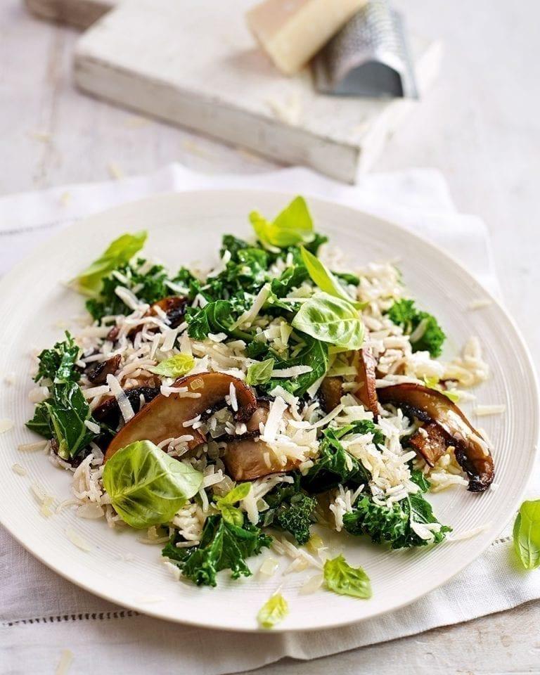 Easy mushroom and kale basmati pilaf