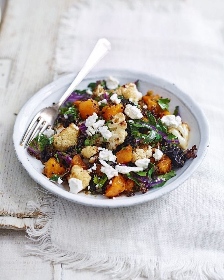 Easy warm roast cauliflower, sweet potato and quinoa salad