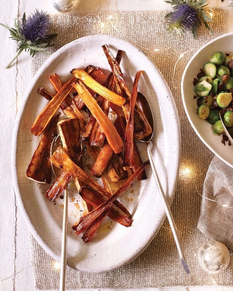 Balsamic and brown sugar roast carrots and parsnips
