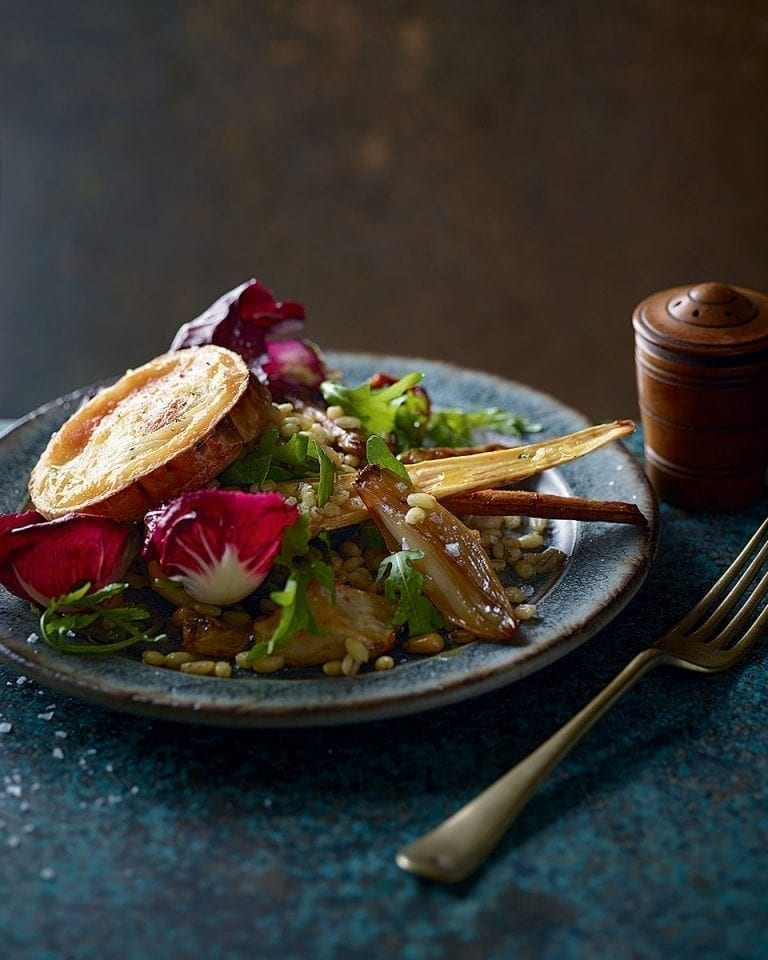 Honey-roast jerusalem artichoke, parsnip and pearl barley salad with grilled goat's cheese