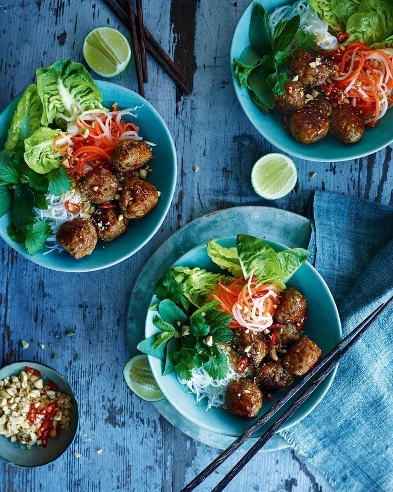 Sticky Vietnamese pork meatballs with rice noodles and pickled vegetables