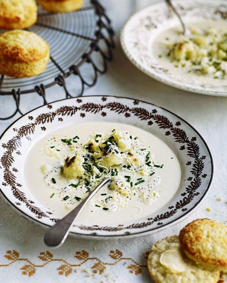 Cauliflower cheese soup with mustard seed and cheddar scones