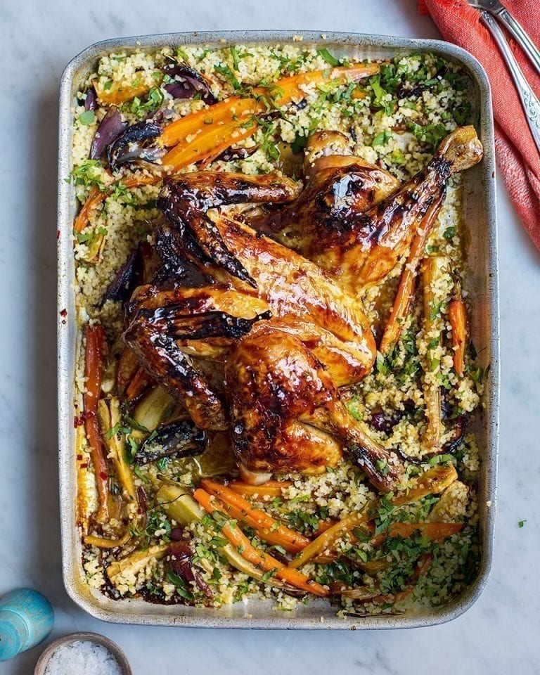 Pomegranate molasses chicken with roasted vegetables