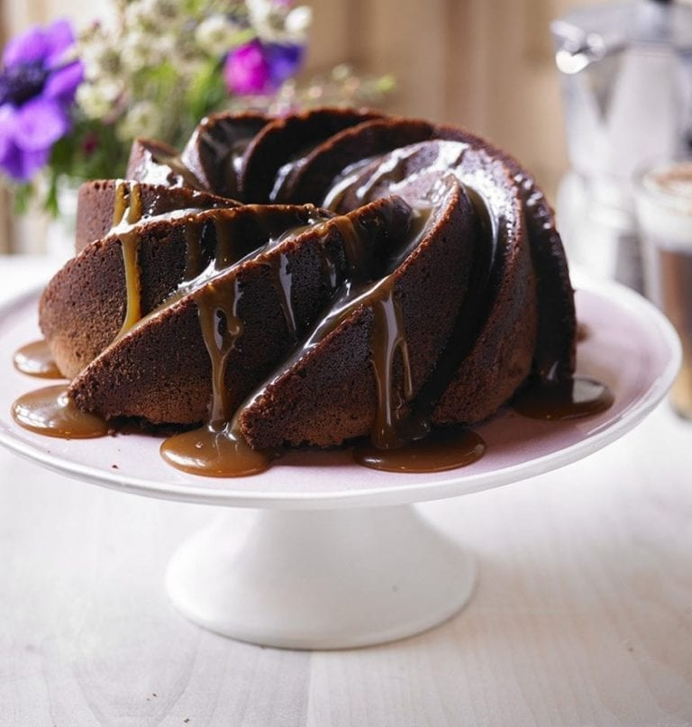 Chocolate and Baileys caramel bundt cake
