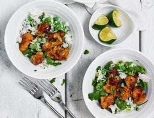 Quick Japanese-style chicken with pea and herb rice