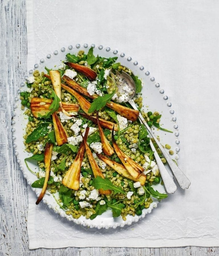 Easy green pearl barley salad with roast parsnips and goat's cheese